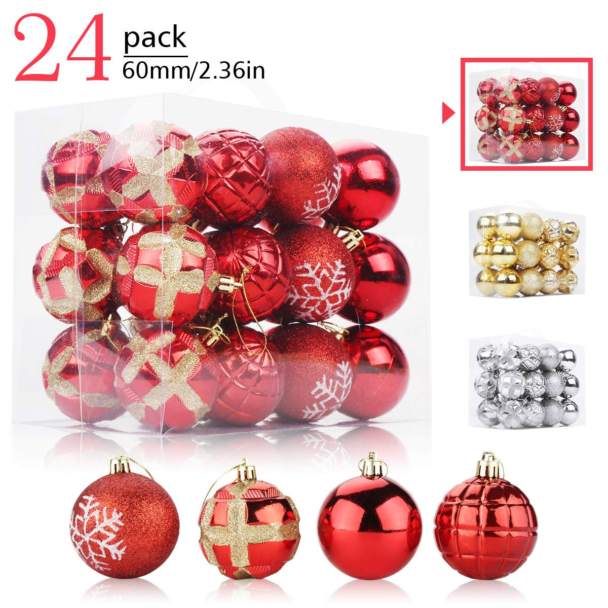 Aitsite 24 Pack Christmas Tree Ornaments Set 2 36 Inches Mini Shatterproof Holiday Ornaments Balls For Christmas Decorations Personalized Red