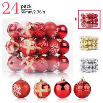 Aitsite 24 Pack Christmas Tree Ornaments Set 2.36 inches Mini Shatterproof Holiday Ornaments Balls for Christmas Decorations (Personalized Red)