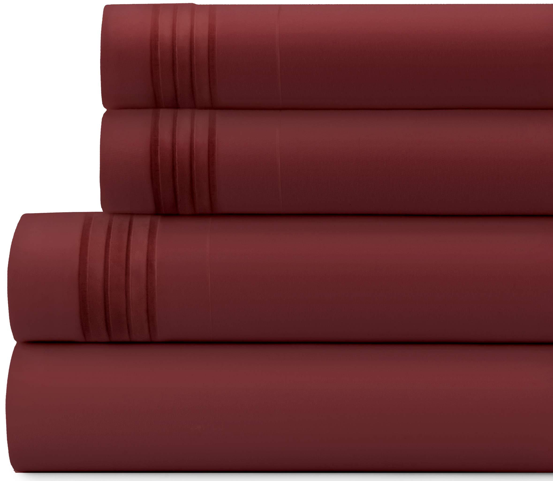 Briarwood Home Bed Sheet Set – Brushed Microfiber 1900 Premium Quality Soft Fabric Breathable Bedding – Deep Pocket – Wrinkle, Fade & Shrinkage Resistant 4 Piece Sheets (Full/Burgundy)