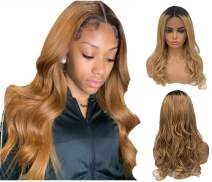 Munx Ombre Human Hair Wigs Blonde Curly 13x6 Lace Front Pre Plucked Real Hair Balayage Wigs Middle Part 150% Density 1b/27 Strawberry Blonde with Dark Roots 24Inch Long Virgin Hair Wig for Black Women