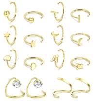 Drperfect Half Hoops Earrings 316L Stainless Steel Small Huggie Hoop Earrings Ball, Bar, Star, Moon, Heart, Butterfly Half Hoops Cartilage Piercing Earrings Tiny Hoop Stud Earrings Cuff Wrap Earrings