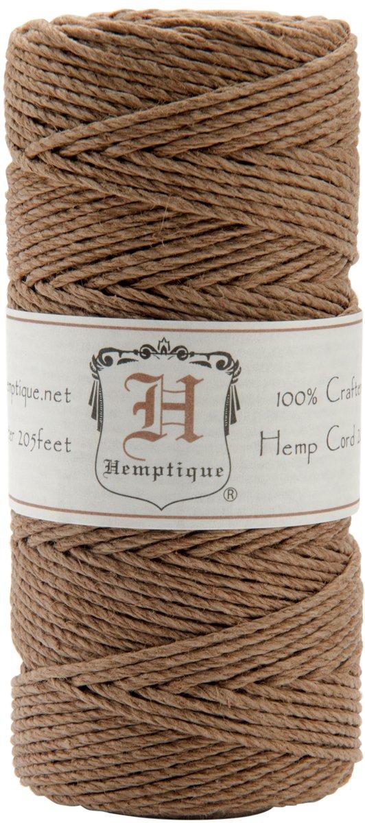 Hemptique 100% Hemp Cord Spool - 62.5 Meter Hemp String - Made with Love - No. 20 ~ 1mm Cord Thread for Jewelry Making, Macrame, Scrapbooking, DIY, & More - Light Brown