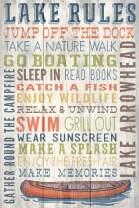 Lake Arrowhead, California - Lake Rules - Rustic Typography (12x18 Art Print, Wall Decor Travel Poster)