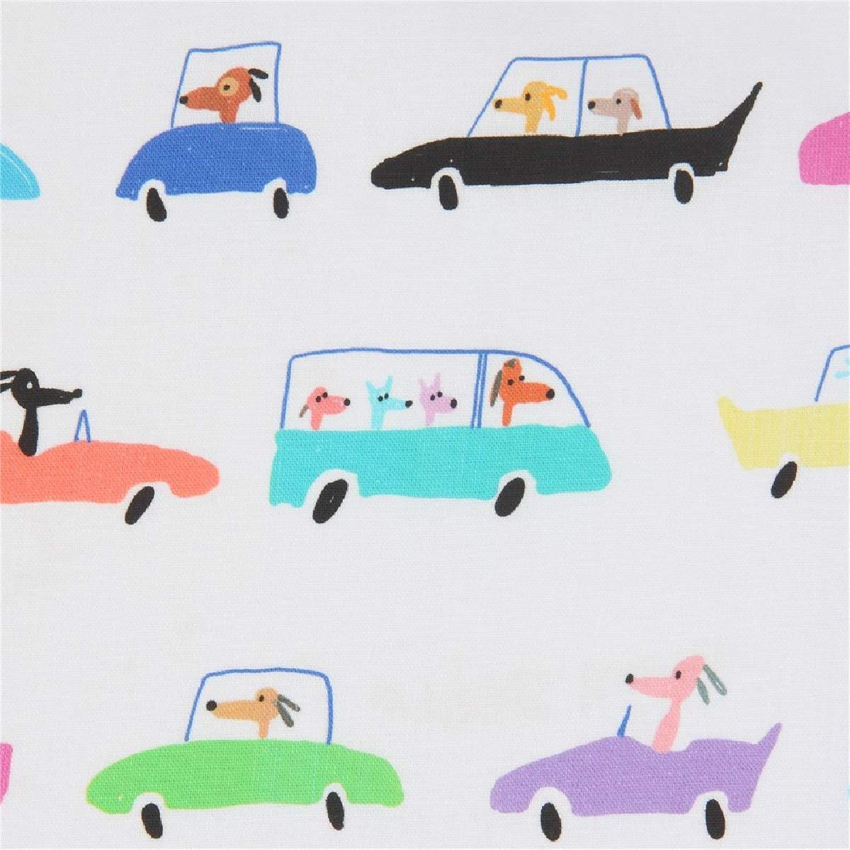 QT Fabrics Amanda Haley Dogtown Dogs In Cars Fabric, White, Fabric By The Yard