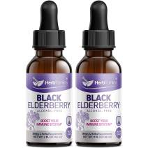 (2 Pack) Elderberry Syrup Liquid Extract Drops for Kids & Adults, Daily Immune Support with Antioxidants, Highly Potent 1750mg Complex