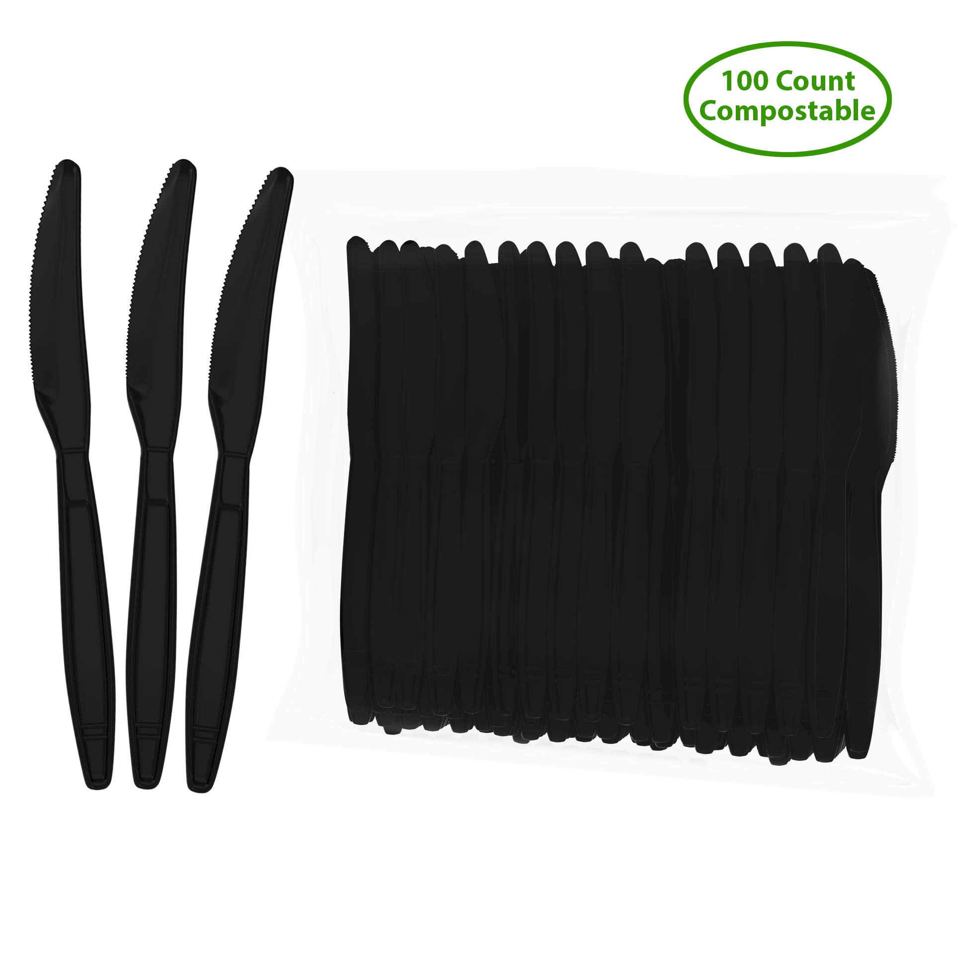 """Biodegradable Compostable Bio-based Disposable Knife - 100 Knives Large 7.5"""" Black - Heavy Duty Heat Resistant Eco Friendly Utensils (100 Count, Knives, Black)"""