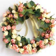 """SISJULY Flower Wreath Handmade 14"""" Pink Champagne Rose Artificial Floral Silk Door Wreath for Front Door Wall Wedding Party Office Home Decor with Ribbon"""
