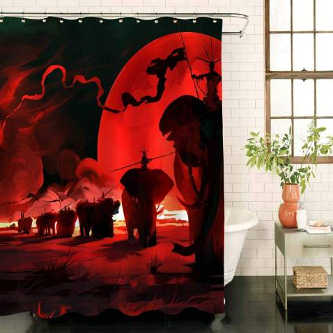 MitoVilla War Animals Elephants with Red Moon Shower Curtain, Decor Graphic Print, Abstract Watercolor Polyester Fabric Bathroom Set with Hooks, 72W X 78L inches, Red and Black