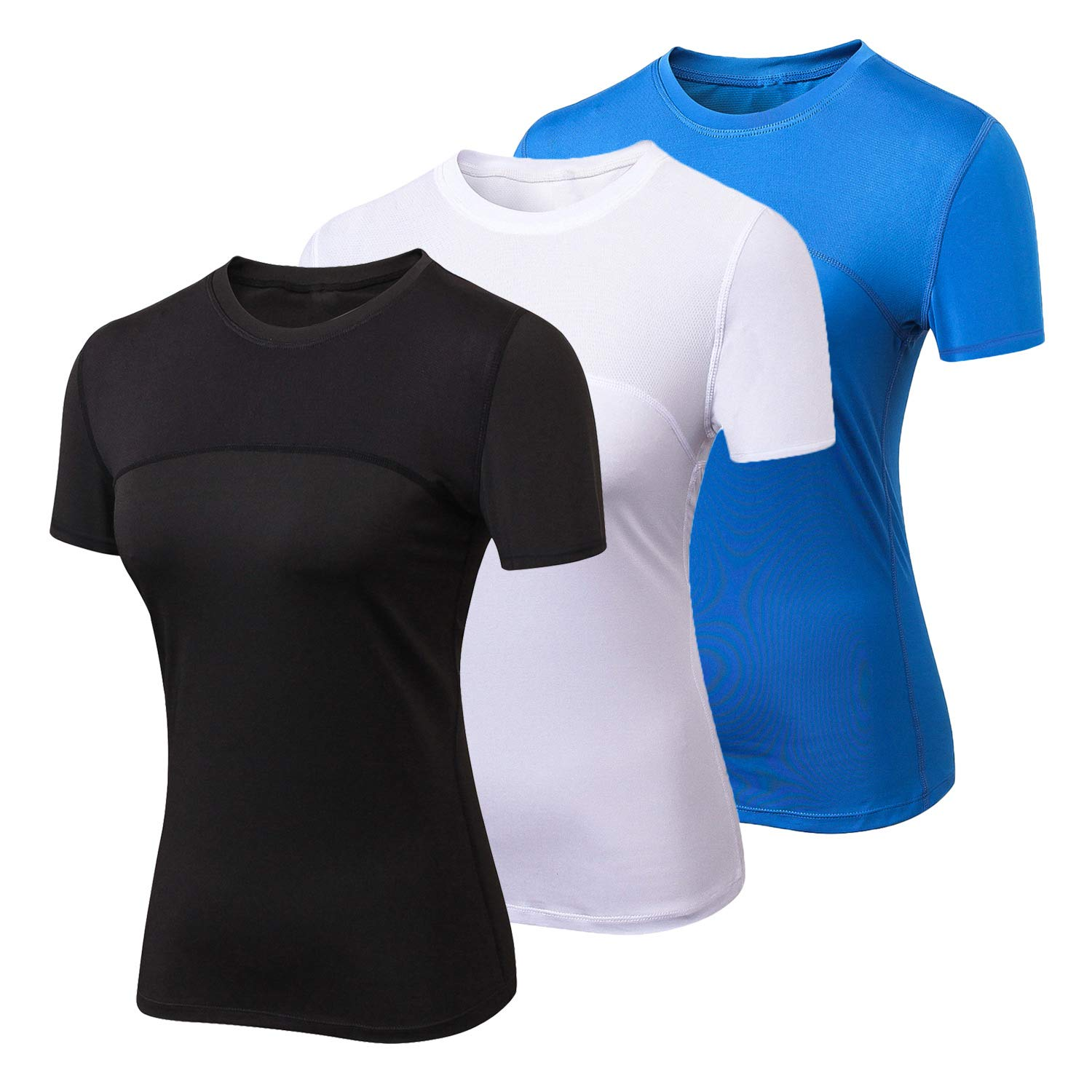 Women Workout Shirt Dry Fit Short Sleeve Sport Compression Tops Moisture Wicking Athletic T-Shirts