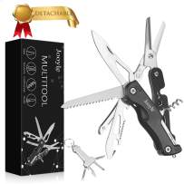 2020 Updated Multitool Knife, Folding Knife with Scissors & Multitool Pocket Knife, Used for Home, Hiking, Fishing, Camping with Bottle Opener, Can Opener, Saw, etc. More in One and with Nylon Bag.