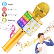Verkstar Wireless Bluetooth 4 in 1 Karaoke Microphone, Portable Handheld Karaoke Machine Speaker for Birthday Home Party Player with Record Function for Android & iOS All Devices (Gold)