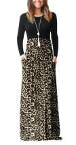 VIISHOW Women's Long Sleeve Empire Waist Maxi Dresses Long Dresses with Pockets