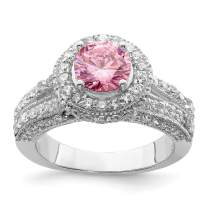925 Sterling Silver Round Pink White Cubic Zirconia Cz Band Ring Fine Jewelry For Women Gifts For Her