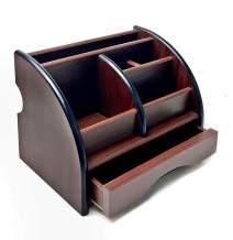 Bellaa 20478 Pen Holder Wooden Desk Organizer 6 Compartment (Brown)