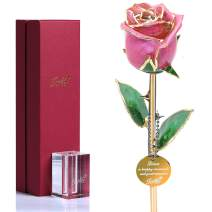 Gold Rose Flower Gold Dipped Real Roses,Gifts for Her Wife Mother Birthday Mother's Day Anniversary Pink Rose