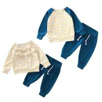 Baby Brother Sister Family Matching Outfits Newborn Boy Girl Ruffle Striped T-Shirt Solid Pants Clothing Set