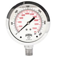 "Winters PFQ Series Stainless Steel 304 Dual Scale Liquid Filled Pressure Gauge, 0-3000 psi/kpa,4"" Dial Display, +/- 1.5% Accuracy, 1/2"" NPT Bottom Mount"