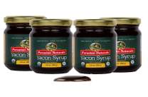 Organic Yacon Syrup 2.2lb (Four Jars x 250g = 1kg) - Peruvian Naturals | Low-Glycemic, Low-Calorie Sweetener for Weight Loss | Sugar Substitute