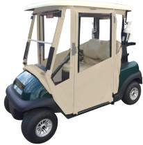 Doorworks Hinged Door Golf Cart Enclosures – Club Car Pre2000 Sunbrella Canvas Cart Cover, Swinging Hard Doors, 4 Sided, Zippered Drivable Golf Cart Cover Fits Golf Bags, Utility Box, Rear Facing Seat