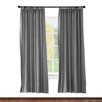 ChadMade Pinch Pleated Curtain 52W x 96L Inch Solid Thermal Insulated Blackout Patio Door Panel Drape for Traverse Rod and Track, Grey (1 Panel)