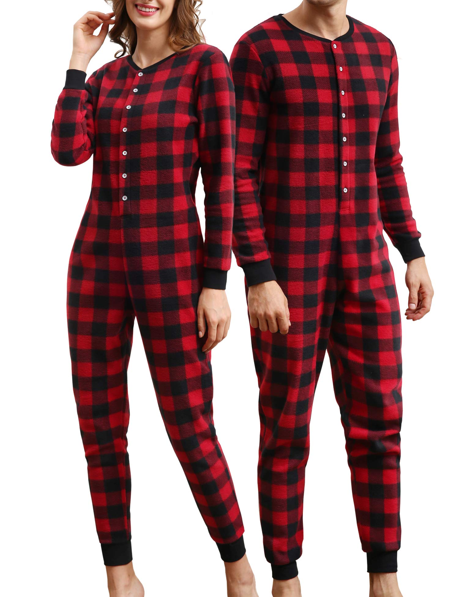 COLORFULLEAF Couples Christmas Matching One Piece Pajamas Plaid Fleece Adult Onesie (Pack of 1)