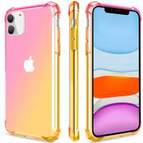 SALAWAT for iPhone 11 Case, Clear Cute Gradient iPhone 11 Phone Case Slim Anti Scratch Flexible TPU Cover Reinforced Corners Shockproof Protective Case for iPhone 11 6.1 Inch 2019 (Pink Gold)