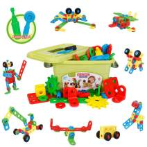 YIER Kids STEM Building Toys Toddlers Educational Construction Engineering Building Blocks Set for 3 4 5 6 7 Year Old Boys & Girls Best Learning Toy Gift Kit with Engineering Blocks Wheels and Bolts