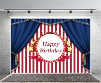 Laeacco 7x5ft Photography Birthday Party Background Red and White Striped Background Blue Curtain Elegant Shiny Stars Ribbon Background Party Decoration Children Baby Adults Photos