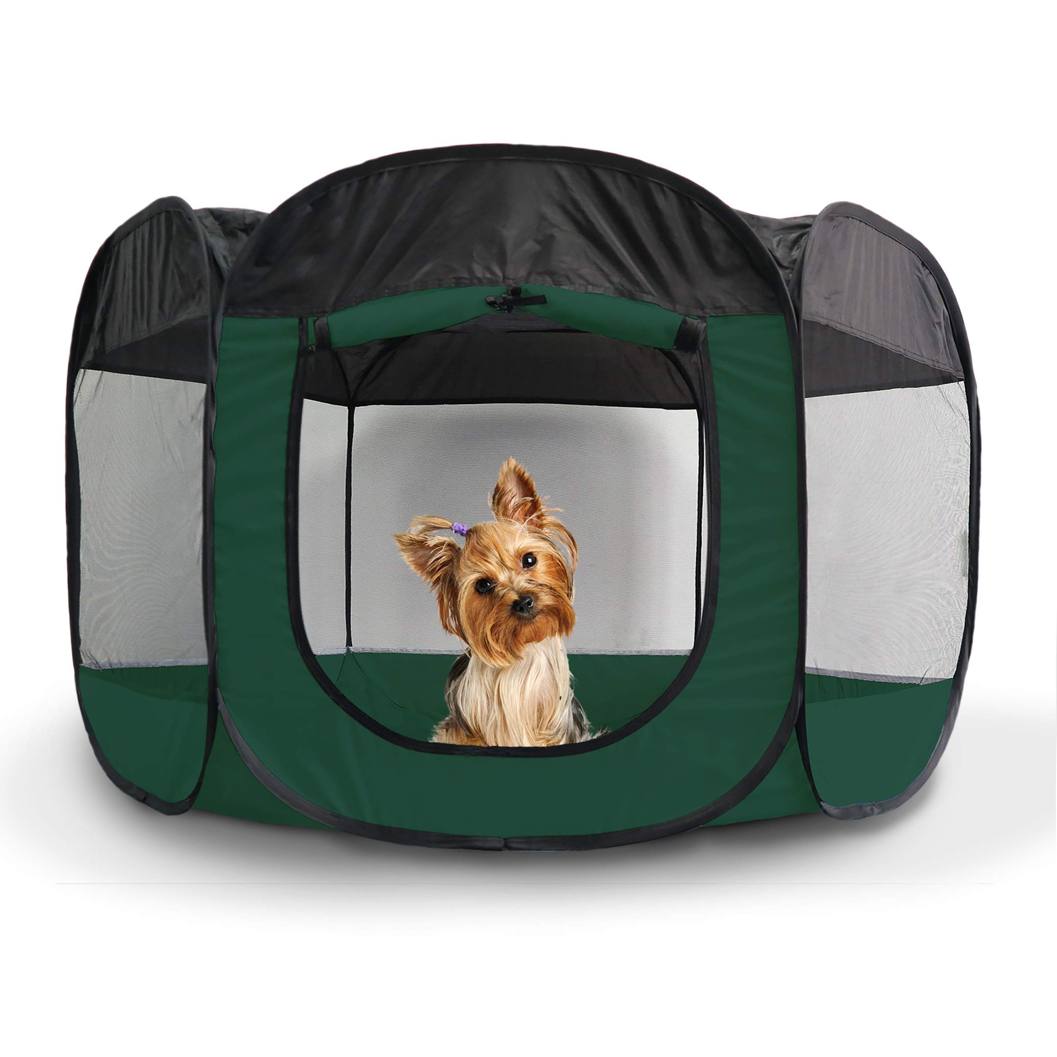 Furhaven Pet Playpen - Indoor/Outdoor Mesh Open-Air Playpen & Exercise Pen Tent House Playground for Dogs & Cats, Hunter Green, Small