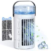 Hommie Portable Air Conditioner, 4 in 1 Personal Evaporative Air Cooler with 2 Fans, 8 Colors LED Light and 3 Speeds, Air Purifier & Cool Mist Humidifier for Home, Office, Room. (CF-002TR, White)