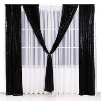 Poise3EHome Sequin Backdrop Curtain 2 Panels 3Ftx7Ft for Wedding Party Decor, Black