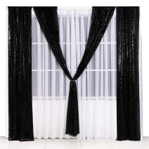 Poise3EHome Sequin Backdrop Curtain 2 Panels 2Ftx8Ft for Wedding Party Decor, Black
