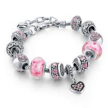 """Long Way Silver Tone Chain Pink Crystal Love Heart Bead Glass Charm Bracelet with Extender 7.5""""+1.5"""" …"""