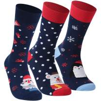 Dsource Unisex Christmas Holiday Socks Fun Colorful Pattern Winter Dress Crew Socks 3 or 6 Pairs