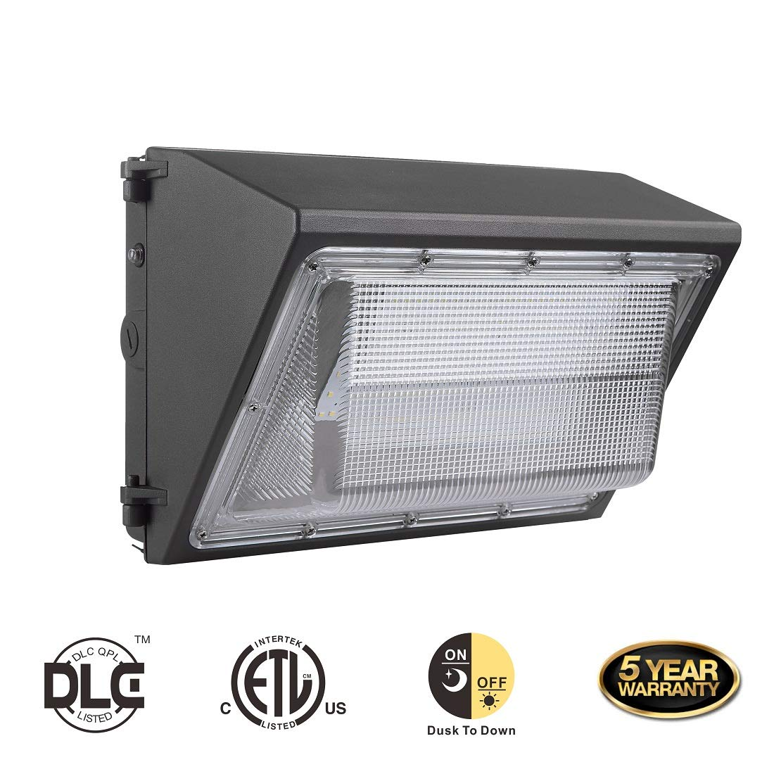 DE-Power 60W LED Wall Pack Light Fixture with Dusk-to-dawn Photocell,HPS/HID Replacement, 5000K,IP65 Waterproof, Outdoor Industrial/Commercial Area Light