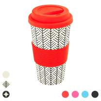 Rink Drink Bamboo Reusable Coffee Cup with Silicone Lid & Sleeve - 400ml - Aztec Leaf - Red