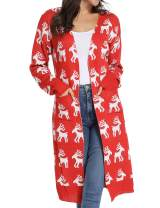 Women's Christmas Cardigan Sweater Maxi Knitting Outwear Warm Coat Long Sleeves Open Front