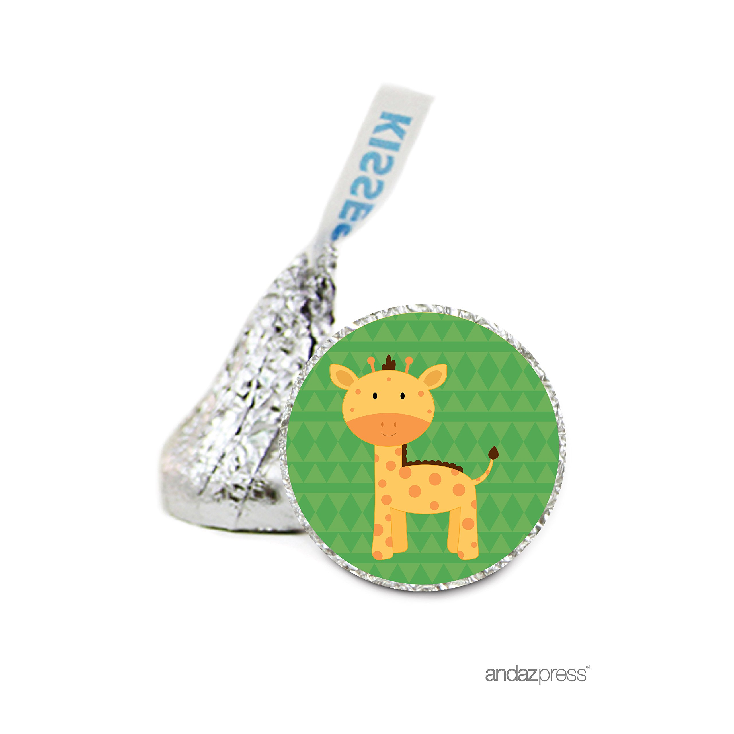 Andaz Press Chocolate Drop Labels Stickers Single, Baby Shower, Giraffe, 216-Pack, for Hershey's Kisses Party Favors, Gifts, Decorations, Birthday