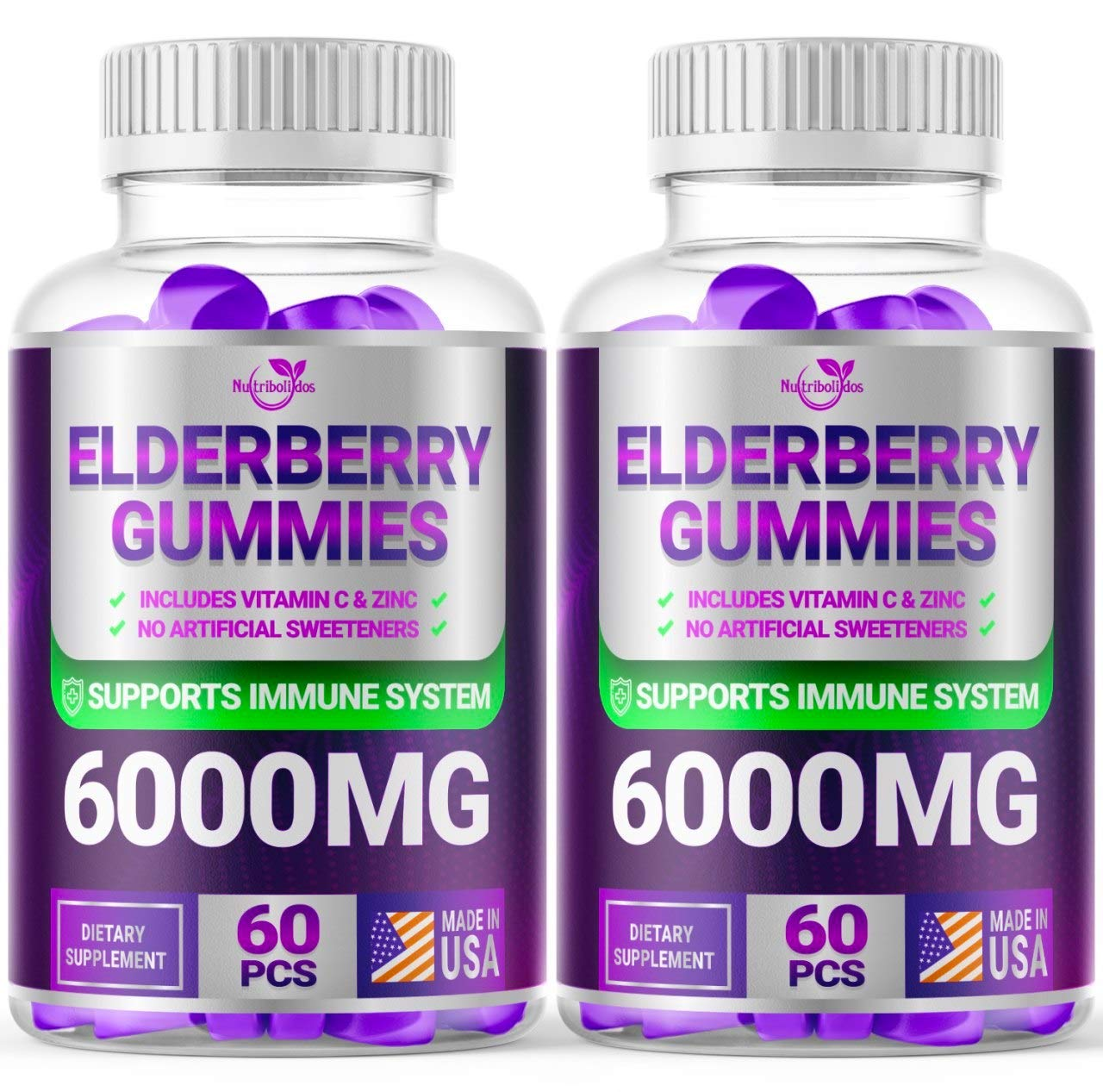 (2 Pack | 120 Gummies) Elderberry Gummies for Adults Kids Toddlers - Herbal Supplement for Immune Support, Skin Health - Powerful Antioxidant | - Made in USA