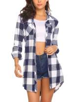 Misakia Women's Roll Up Sleeve Casual Slim Plaid Shirt Boyfriend Button Down Shirts