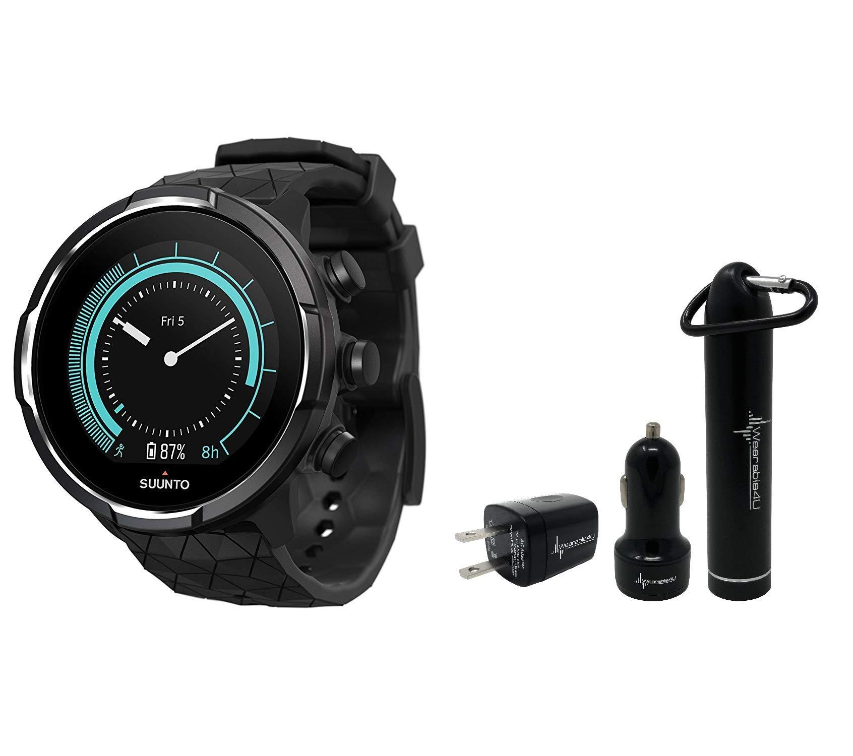 Suunto 9 Baro Durable Multisport GPS Watch with Barometric Altitude and Wearable4U Power Pack Bundle (Black)