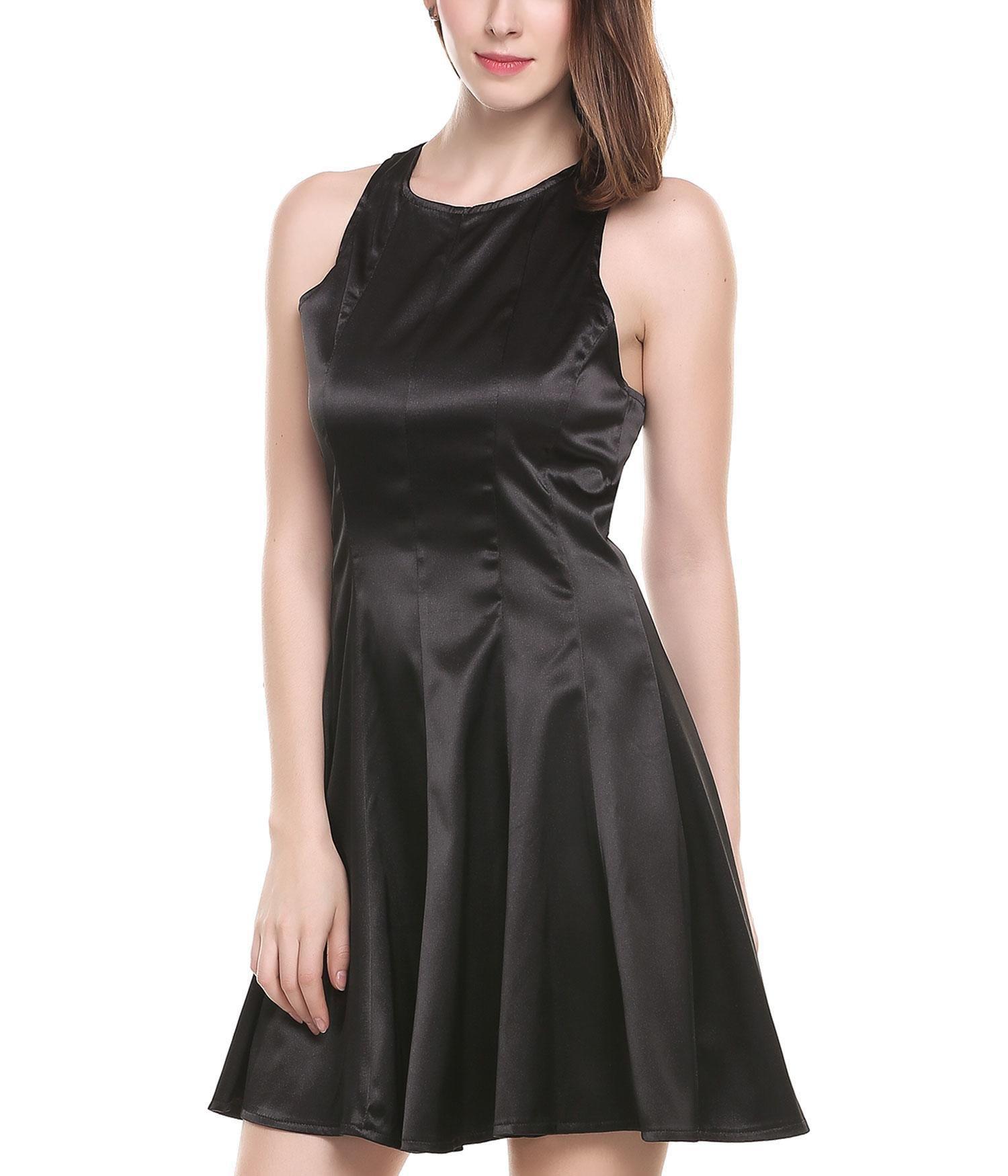 ANGVNS Sexy Sleeveless Halter Neck Short Club Dress Black L