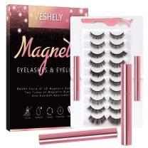 VESHELY Magnetic Eyelashes with Eyeliner Kit,3D Natural Magnetic Eyelashes Set with Applicator and 2 Waterproof Magnetic Eyeliners - No Glue Needed