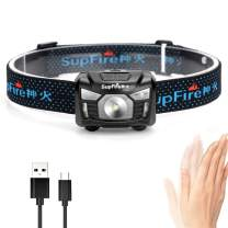 Rechargeable Headlamp,Long Last Motion Sensor Head Lamp Built-in Battery Cree Led 500 Lumens Hands Free Headlight Comfortable Elastic Headband Brightest Lamp Perfect for Camping,Hiking,Inspection