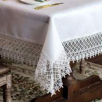 """ARTABLE Classic Rectangular Lace Macrame Tablecloth Shabby Chic Embroidered Oblong Table Cloth for Wedding Banquet Holiday Long Dinner Tables (White, 60"""" x 104"""")"""