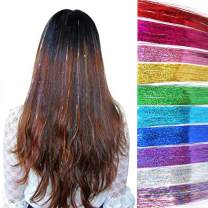 Dsoar 1600 Strands Tinsel Hair Extensions 10 Colors Hair Tinsel Strands Kit Sparkling Shiny Hair Flair Party Highlights Glitter Extensions Bling Synthetic Hairpieces