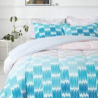 Joyreap 3pcs Comforter Set, Gradient Blue Gray Coral Reversible Design, Ultra Soft Microfiber Comforter for All Season (King, 102x90 inches)