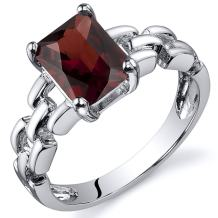 Peora Garnet Ring in Sterling Silver, Designer Link Chain Band, Solitaire Radiant Cut, 8x6mm, 1.75 Carats, Comfort Fit, Sizes 5 to 9