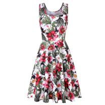 Hotkey Women Sleeveless Dresses Floral Printed A line Tank Dress Cocktail Party Mini Dress Beach Sundress for Summer