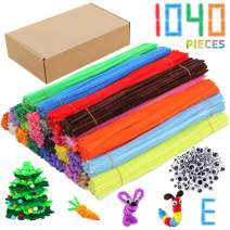 Pipe Cleaners Chenille Stems 1040 Pieces 26 Assorted Colors for Crafts Arts Creative DIY Projects Decorations, 6mm x 12inch Fuzzy Colorful Chenille Stem Sticks Set Craft Supplies for Kids and Adults